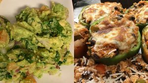 Avocado Dip & Stuffed Peppers with Rice and Beans