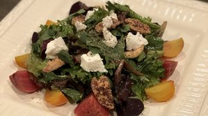 Roasted Beet Salad with Goat Cheese, Candied Pecans, and Honey Balsamic Vinaigrette
